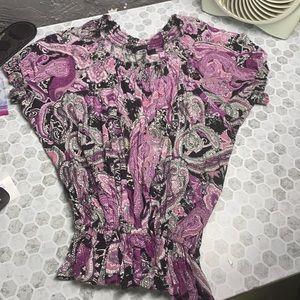 Apt 9 3X Purple Short Sleeve Paisley Print Cinch
